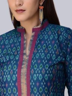Blue Ikat Cotton Silk Kurta - All About Salwar Designs, Silk Kurti Designs, Churidar Neck Designs, Kurta Designs Women, Kurti Designs Party Wear, Designer Salwar Kameez, Collar Kurti Design, Kurta Neck Design, Salwar Pattern