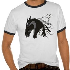 Black and white horse head custom t-shirt. #horse, #horsehead, #blackandwhite, #tshirt  See more #gifts here http://www.zazzle.com/zazzleproducts1?rf=238228936251904937=zBookmarklet