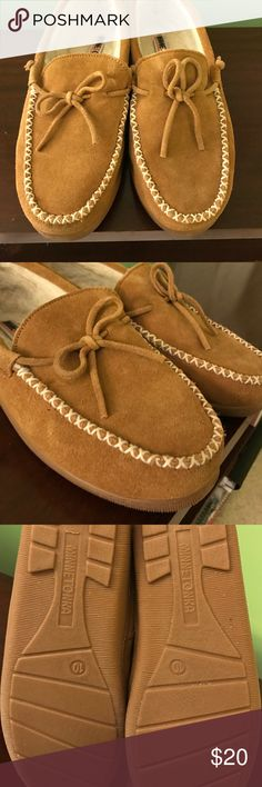 Minnetonka size 10 suede moccasins Genuine suede moccasins with lining and rubber soles, size 10. For indoor/outdoor wear, new without tags. Minnetonka Shoes Moccasins