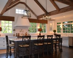 "ceiling & windows ""New southern chic"" kitchen by Splash Kitchens & Baths."