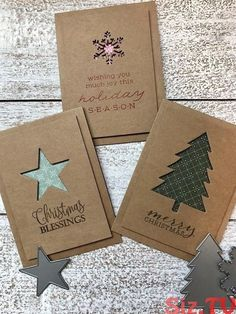 Simple Christmas Cards, Christmas Card Crafts, Homemade Christmas Cards, Christmas Gift Wrapping, Christmas Greeting Cards, Homemade Cards, Handmade Christmas, Holiday Cards, Christmas Tree