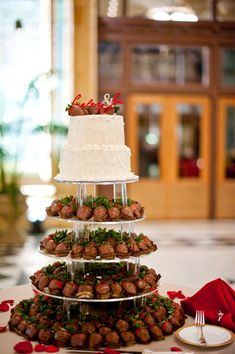 Cake & Chocolate Covered Strawberries ... mmmmm ~ Photography by scobeyphotography.com