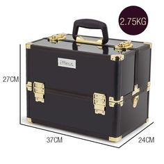 Beauty Cosmetic Case Makeup Organiser Carry Bag Holder Travel Gold Black