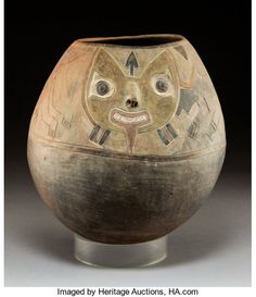 A Paracas-Ocucaje phase Ovoid Jar with Pair of Incised Felines c. BC Very large earthenware - Available at 2019 June 25 Ethnographic Art:. American Indian Art, American Indians, New College, Tribal Art, Art Auction, Glass Art, Contemporary Art, Illustration Art, Jar