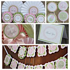 First Communion / Baptism party decoration. Boutique 5 piece party decor box. Girl / Pink / Green. Fully assembled and customizable. by CharmingTouchParties on Etsy