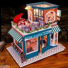 Dollhouse Miniature DIY Kit w/ Light Cafe Sweet Coffee Cabin Shop Store Villa