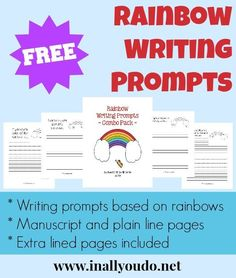 FREE Rainbow Writing Prompts Combo Pack!