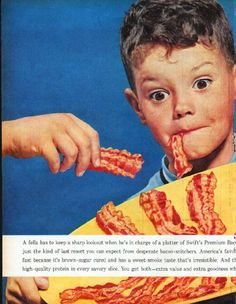 """Description: 1961 SWIFT'S PREMIUM BACON vintage magazine advertisement """"keep a sharp lookout"""" -- A fella has to keep a sharp lookout when he's in charge of a platter of Swift's Premium Bacon. An ambush is just the kind of last resort you can expect from desperate bacon-snitchers -- Size: The dimensions of the centerfold advertisement are approximately 21 inches x 13.5 inches (53.25 cm x 34.25 cm). Condition: This original vintage centerfold advertisement is in Excellent Condition unless ..."""