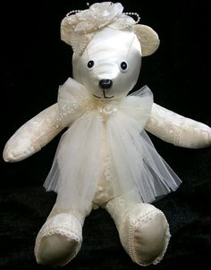 """Wedding Dress Memory Bear. A memory bear is made from clothing from someone special to you. Could be a loved one who has passed on or could be a child or family member that has reached a milestone. Come """"like"""" me on facebook, Creative Crafts by Dawn"""