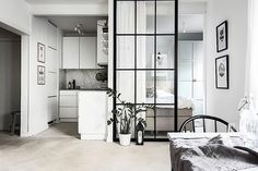 42 Minimalist Apartment Studio Decorating Ideas - Studio apartments are becoming an increasingly favorite selection for singles or couples. Studios are generally one room apartments with a shared livi. One Room Apartment, Studio Apartment Layout, Apartment Interior, Studio Apartment Partition, Apartment Living, Studio Apartment Kitchen, Condo Interior Design, Stockholm Apartment, Small Apartment Design
