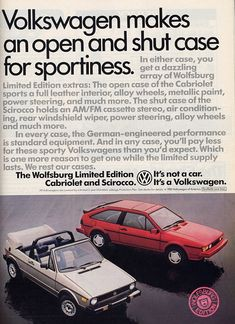1985 Volkswagen Cabriolet & Scirocco Wolfsburg Limited Edition