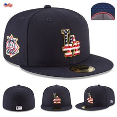 67258cb1254706 Details about New Era Cap 59FIFTY Los Angeles Dodgers 4th Of July Navy $40