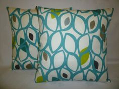 PAIR Teal Blue Green Gray Pillow Cushion Covers 4 by WickedWalls, $29.00