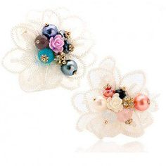 $6.74 Fashion Graceful Style Lace and Beads Embellished Flower Shape Ring For Women