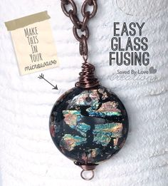 How to make fused glass jewelry in your microwave; beautiful dichroic focal pieces in minutes @savedbyloves