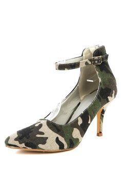 Mark Maddux Alan 03 Camouflage Pointy Heel Ankle Strap Back Zip Sexy Trendy   eBay