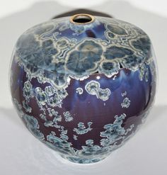 BILL BOYD_Blue and Purple Vase (anvil shape), 2013, ceramic, 11 x 10.5 inches _  Zinc- Silicate crystal glaze