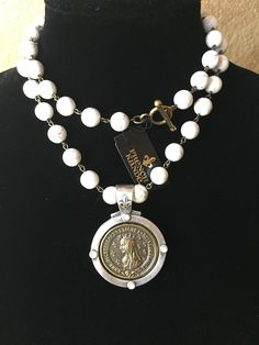 White Turquoise French Medallion Necklace