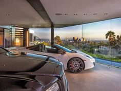 Interior of a garage - yes, you read it correctly - in a modern mansion in Beverly Hills