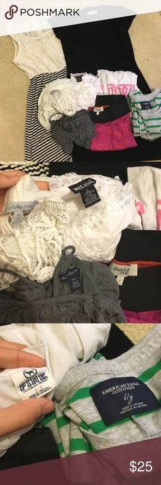 BUNDLE!! Charlotte Russe, American Eagle, PINK LACE DRESS IS SOLD❤️ Charlotte Russe, American Eagle, Wetseal, PINK, etc. There are pictures of sizes. All of this includes, 1 dress ( BLACK ONE), 2 tank tops, 1 Charlotte Russe cover up/cardigan, 1 PINK v-neck, 1 AE long sleeve, & 1 Charlotte Russe mini skirt PINK Tops Tank Tops