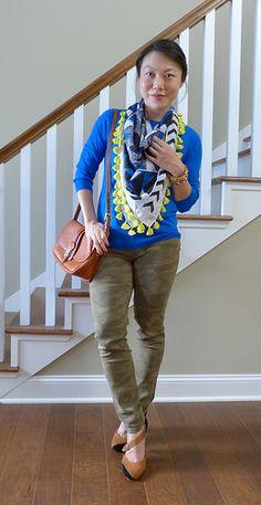 sweater, scarf, camo (#jcrewfactory sweater #joefresh scarf #landsend jeans #dooneyandbourke bag #seychelles heels)