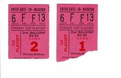 1963 Chicago Blackhawks Stanley Cup Playoff Ticket Stub lot of (2) vs. Red Wings #ChicagoBlackhawks