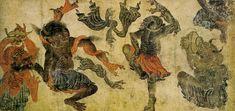 Folio du Siyah Qalem: démons dansant.