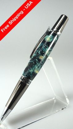 Handmade Gift for Her - Chrysanthemum Flowers in Green Acrylic Resin Custom Cast Rollerball Pen - Free Shipping USA by woodenquill on Etsy