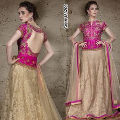 A #beige #lehenga teamed up with rich #pink #croptop style #choli, an exotic combination of colors for this wedding season!!  Get upto 70% off on all the outfits.   #Beige #BrightPink #DesignerBlouse #FloralMotif #Volume #Layers #Embroidery #Designer #Occ