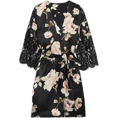 Rosamosario La Donna del Fioraio lace-paneled floral-print silk-satin... (15.933.680 IDR) ❤ liked on Polyvore featuring intimates, robes, black, dressing gown, floral print robe, floral robes, bath robes and floral bathrobe