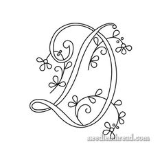 Free Monogram for Hand Embroidery: Letter D  needlenthread  Mary Corbet  Delicate Spray monogram