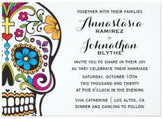 Sugar Skull Dia De Los Muertos Wedding Invitation   Zazzle