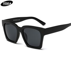 VEGA 2017 Trendy Big Black Sunglasses Unisex Square Hipster Glasses Vintage Goggles Womens Mens Shades UV400 FSK1