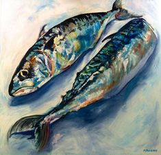 Original Oil Painting Two Mackerel by easelandcanvas on Etsy, Food Painting, Oil Painting Flowers, Oil Painting Abstract, Painting Clouds, Painting Videos, Sea Life Art, Sea Art, Jellyfish Art, Underwater Art
