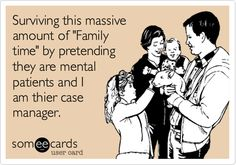 Surviving this massive amount of 'Family time' by pretending they are mental patients and I am thier case manager.