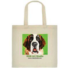 Saint Bernard Tote Bag Lab Dog Art Painting Print by RMBArtStudio