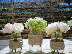 CBV120 Riviera Maya Vintage wedding , Mason Jars centerpiece, twine wrapping / centro de mesa con 3 frascos Mason Jars encintado rustico
