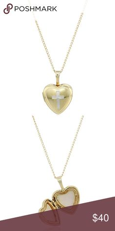 Sterling Silver Cross Heart Locket Necklace Brand new without tags Sterling Silver with yellow gold plating cross heart locket pendant necklace. Jewelry Necklaces