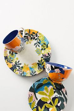 Discover unique Dinner Plates at Anthropologie, including the season's newest arrivals. Pottery Painting, Ceramic Painting, Ceramic Art, Painted Pottery, Painted Ceramic Plates, Hand Painted Ceramics, Plate Design, Kitchen Collection, Side Plates
