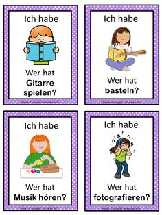 German version of the I have ... Who has ...? game. This German game can be played to introduce and practice German Freizeitaktivitäten. This game has 35 cards with a colorful frame and 35 cards with a simple black frame to save you ink. There are 4 cards per page.