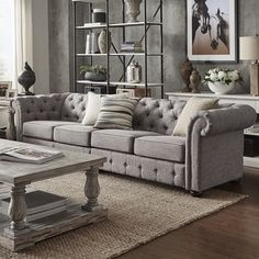 Knightsbridge Grey Linen Oversize Extra Long Tufted Chesterfield Modular  Sofa By SIGNAL HILLS   Free Shipping
