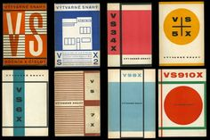 """8 magazine covers (""""Published in Prague for only four years (1926-1930), these issues of the rare Czechoslovakian periodical, Výtvarné snahy [Art Endeavors], feature covers designed by Ladislav Sutnar during 1928 and 1929."""" -- Cooper Hewitt Object of the Day)"""