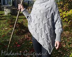 For someone who look for the easy knitting pattern. I think this pattern could answer Sizes: S/M, (L/XL) Thank you. Poncho Knitting Patterns, Cable Needle, Needles Sizes, Handmade Clothes, Merino Wool Blanket, My Style, Pdf, Stuff To Buy, Shopping