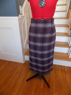BUY IT NOW! FREE SHIPPING! Purple Plaid Skirt Fringe Hem Michelle Petite Size 14P Soft and Fuzzy 20% Wool  | eBay