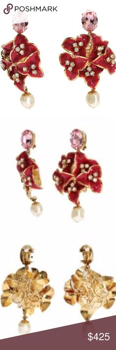 Dolce & Gabbana Red Floral Crystal Clip Earrings DOLCE & GABBANA  Gorgeous brand new with tags, 100% Authentic Dolce & Gabbana gold brass red floral crystal clip on dangling earrings.  Model: Clip on Dangling Motive: Floral Material: 30% Crystal, 70% Brass Color: Gold Crystal: Clear and pink Logo details Made in Italy  Length: 7cm Dolce & Gabbana Jewelry Earrings