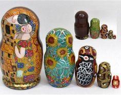 5 pcs. Russian Nesting Doll Gustav Klimt KISS #3177