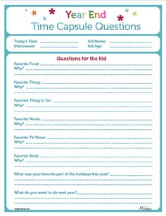 New Year Time Capsule Questionnaire  REDONE: http://pintrestchallenge.blogspot.com/2013/01/new-year-time-capsule.html