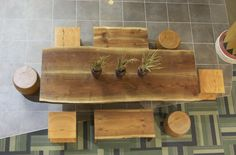 reclaimed wood dining table & benches