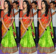 Latest Traditional and Designer Sarees: Sneha Reddy(Allu Arjun Wife) in Designer Green and Orange Half Saree(langa voni)