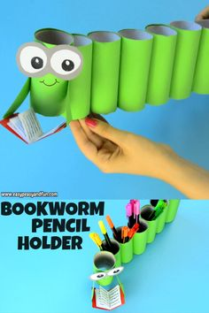 Make this DIY bookworm paper roll pencil holder. videos crafts for the home DIY Bookworm Paper Roll Pencil Holder Diy Crafts Hacks, Diy Home Crafts, Diy Arts And Crafts, Creative Crafts, Kids Crafts, Recycled Crafts Kids, Toilet Paper Roll Crafts, Paper Crafts For Kids, Diy For Kids